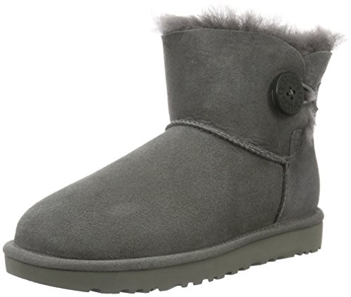 UGG Women's Mini Bailey Button II Winter Boot, Grey, 8 B US