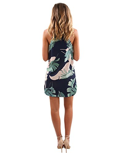 Sleeveless Style Dress Women's Printed Blooming Flower Blue Mini H Floral Neck Jelly Casual qOE4qwXx