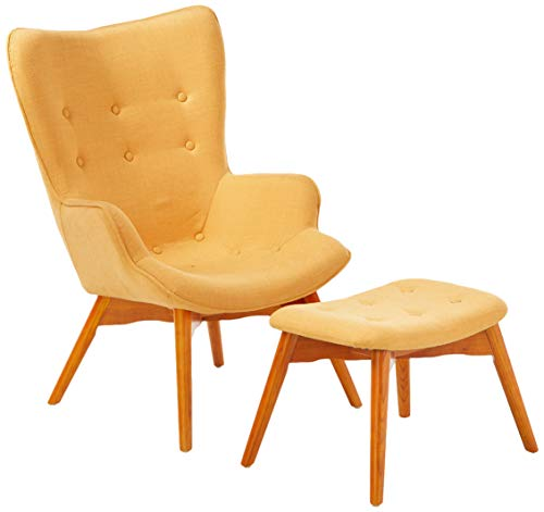 Christopher Knight Home Acantha Mid Century Modern Retro Contour Chair with Footstool, Muted Yellow