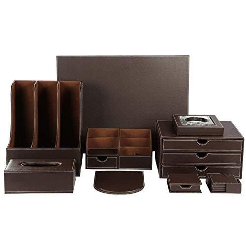 Home Ashtray Desk Organizer Set 9 PCS Office Supplies Set File Holder Cabinet,Desk Organizer Drawer,Tissue Box Cover,Organizer Box,Mouse Pad Desk Pad Notepaper Holder,Ashtray And Coasters Set,Black Of