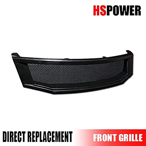 - HS Power Black Front Grill Hood Bumper Grille Cover Aluminum Mesh ABS 2008-2010 for Honda Accord 4D 4DR