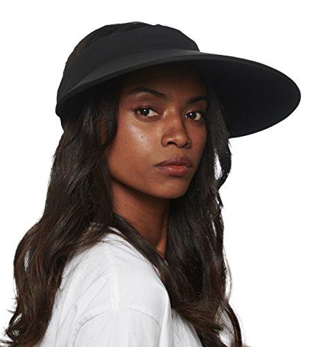 - CACUSS Women's Summer Sun Hat Large Brim Visor Adjustable Velcro Packable UPF 50+ (One Size, Black/Black)
