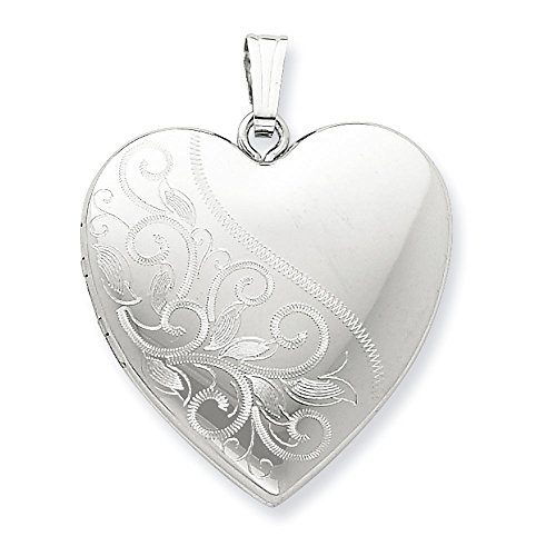 Sterling Silver 4 Picture Photo - Sterling Silver Polished Holds 4 photos 24mm Scrolled Heart Family Locket