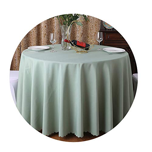 COOCOl 1Pc Washable Wedding Tablecloth for Round Fable Party Banquet Dining Table Cover Decor,Bean Green,220Cm -