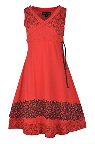 Robe sans manches en coton pour femme avec imprimé neuf. (RED-TC-TDR751-S)