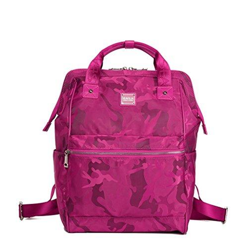 Bolsa De Hombro De Viaje Femenil De Gran Capacidad Deportes Oxford Cloth Ladies Canvas Nylon Mochila Mommy Bag ( Color : Rosa Roja ) Rosa Roja