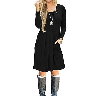 Bia Mova Women's Long Sleeve Dress Casual Loose Swing Pocket T-Shirt Knee Length