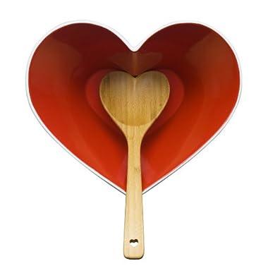Sagaform 5015344 Stoneware Heart Bowl with Bamboo Ladle