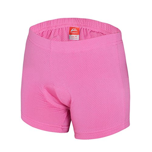 Alonea Women 3D Padded Bicycle Cycling Underwear Shorts (L, Pink)