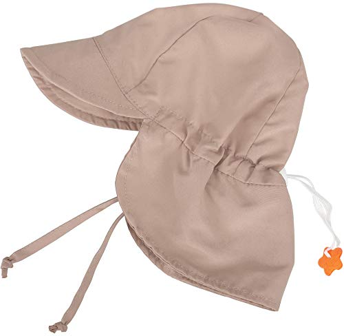 SimpliKids UPF 50+ UV Ray Sun Protection Baby Hat w/ Neck Flap & Drawstring,Khaki,0-6 Months