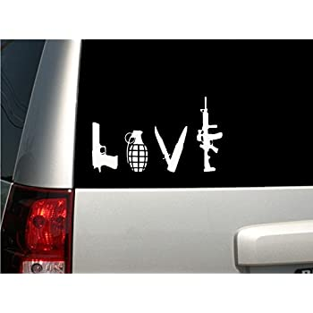 2 LOVE GUN GRENADE DAGGER HANDGUN ASSAULT RIFLE DECALs Sticker For Car Bumper Rv