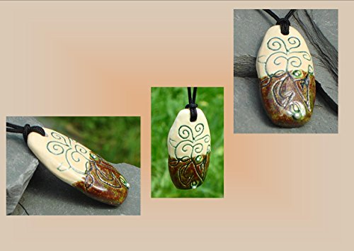 abstract-necklace-ceramic-pendant-brown-cream-pottery-silver-focal-bead-stoneware-jewelry