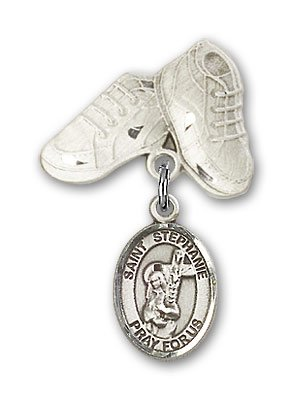 Sterling Silver Baby Badge with St. Stephanie Charm and Baby Boots Pin