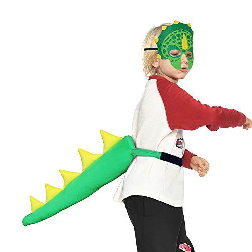 Dinosaur-Tail+Mask for Kids Party -Dragon Costume (#1 Green)