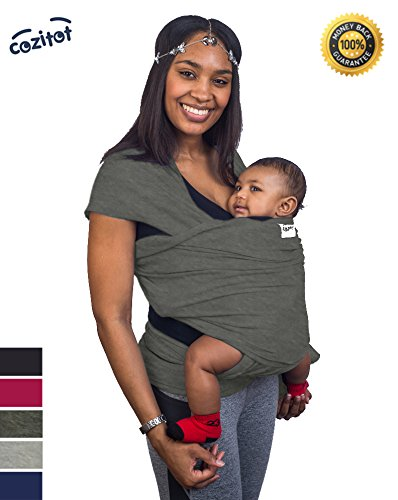 slate-grey-baby-sling-carrier-wrap-by-cozitot-soft-medium-stretchy-baby-carrier-baby-sling-carrier-s
