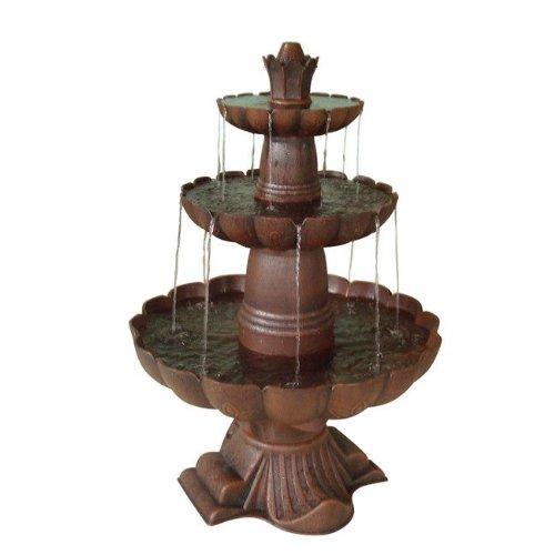 Ceramic Bronze Birdbath - Alpine Corporation 3-Tiered Pedestal Water Fountain and Bird Bath - Ceramic Vintage Decor for Garden, Patio, Deck, Porch - Bronze