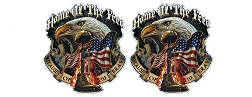 Home of The Free Sticker Decal (2 to 8pcs) Because of The Brave Tribute Respect POW USA US Army Bald Eagle/Plus Coconut Shell Keychain/Car Truck Bumper Bike Notebook Helmet Toolbox (4 Stickers 5