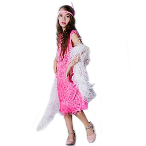 Girl 's Fashion Flapper Satin Dress Costume For Children (10-12 Y, Pink) (Pink Flapper Kids Costumes)