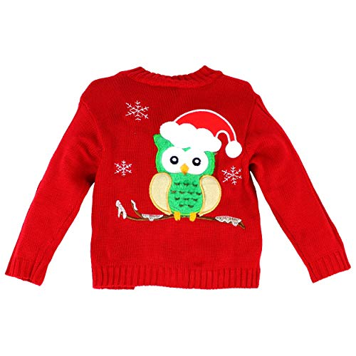 Maria Elena - Ugly Sweater Collection Baby is Cold Outside Wool Knitted Festive Owl Cardigan (Red, 2T)