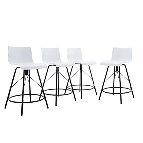 Tongli Modern Barstools Dining Chair Set Ergonomic Industrial Counter Height Bastool Chair Pack of 4 White 24