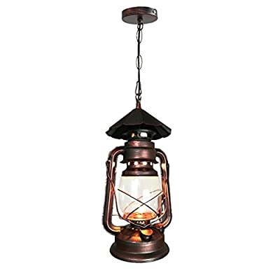 """Yue Jia Rustic Lantern Pendant Lamp Industrial Vintage Style Glass Shade Lighting Fixture for Living Dining Room Kitchen Restaurant ( 1 Piece) W7"""" x H15"""""""