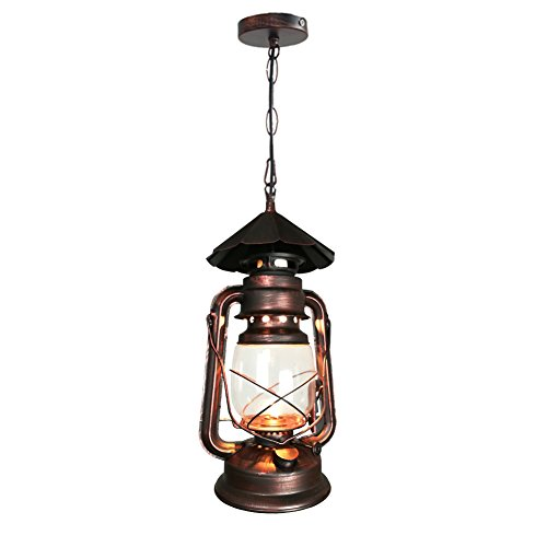 Yue Jia Rustic Lantern Pendant Lamp Industrial Vintage Style Glass Shade Lighting Fixture for Living Dining Room Kitchen Restaurant (1 Piece) W7 x H15 (Lamps Clearance Rustic)