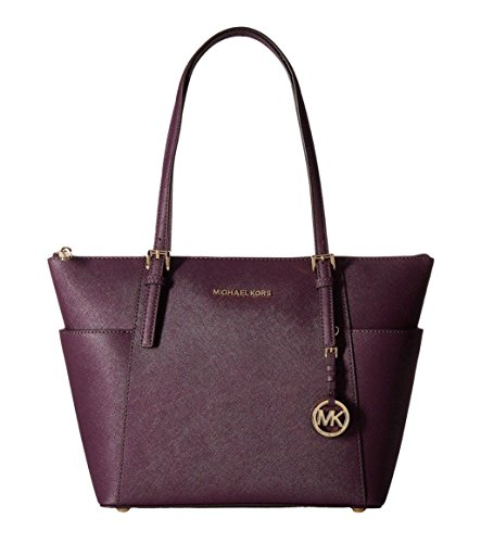 Leather Top Zip Large Tote (MICHAEL Michael Kors Jet Set Large Top-Zip Saffiano Leather Tote in Damson)