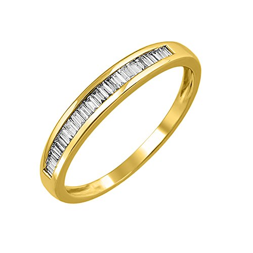 IGI Certified 14K Yellow Gold Baguette Diamond Channel Set Wedding Ring Band (1/4 carat) (Baguette Ring Yellow Gold)