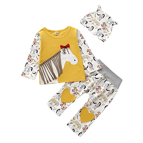 Baby Girl Long Sleeve Clothes Yellow Horse Print with Hat Outfits Sets for Toddler Infant Girl 3Pcs