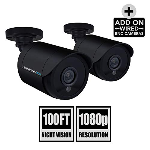Night Owl Security 2 Pack Add-On 1080P Wired Bullet Cameras, Black (CAM-2PK-HDA10B-BU)