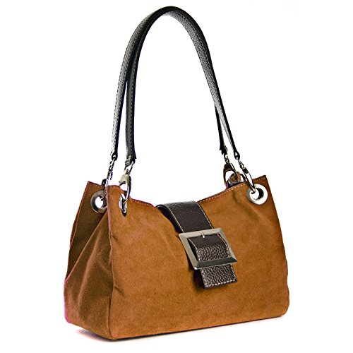 Leather Women Suede Italian Brown Shoulder Handbags Aossta Real Bag zwvtzUq