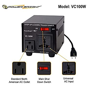 Can be Used in 110 Volt Countries and 220 Volt Countries 300W PowerBright Step Up /& Down Transformer Convert from 220-240 Volt to 110-120 Volt AND from 110-120 Volt to 220-240 Power ON//Off Switch