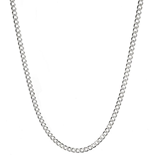 Sterling Silver Men's Italian 4.2mm Diamond-Cut Cuban Curb Chain Necklace - 24