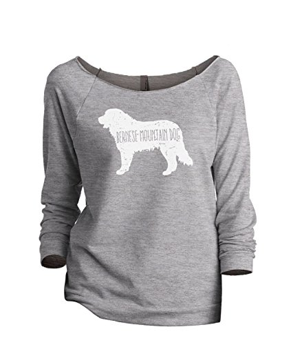 Thread Tank Bernese Mountain Dog Silhouette Women's Slouchy 3/4 Sleeves Raglan Sweatshirt Sport Grey Medium