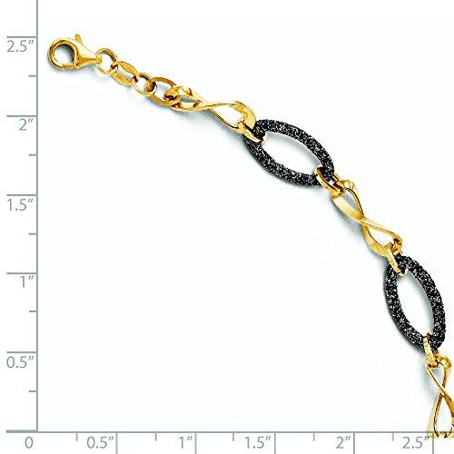 Bracelet avec 14 carats et Rhodium Noir - 18 cm-JewelryWeb