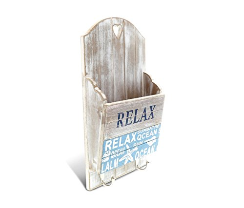 CoTa Global Aqua Sky Wood Nautical Mail Organizer, 12