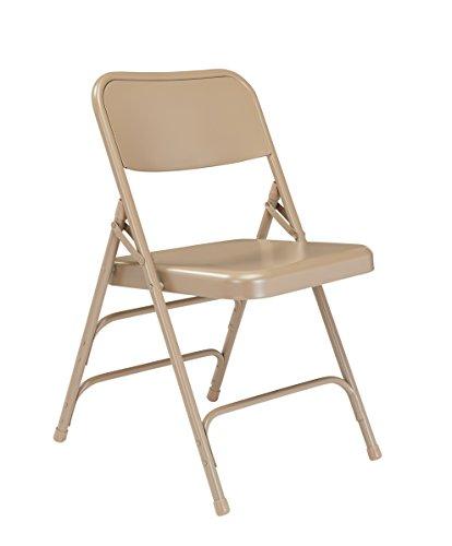 (OKSLO В 300 series deluxe all-steel triple brace double hinge folding chair, beige (pa)
