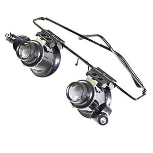 Kurtzy - Anteojos de joyero con lupa 20x para reparación de relojes Luz LED