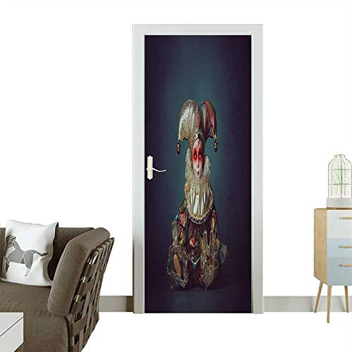 Decorative Door Decal Scary Clown Doll with Demonic Eyes Horror and Halloween Stick The Picture on The Door W17.1 x H78.7 INCH -