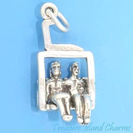 .925 Sterling Silver 3-D Skier Charm Pendant