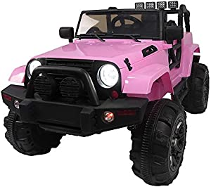 Kids Toy Car Pink 3-Speed Electric Off-Road Vehicle 12V Kids Ride On Car SUV MP3 RC Remote Control