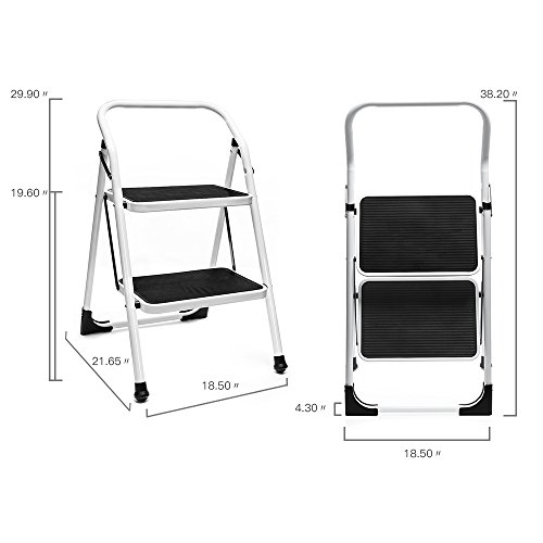 Delxo 2 Step Ladder Portable Step Stool With Handgrip Anti Slip And Wide Pedal Sturdy