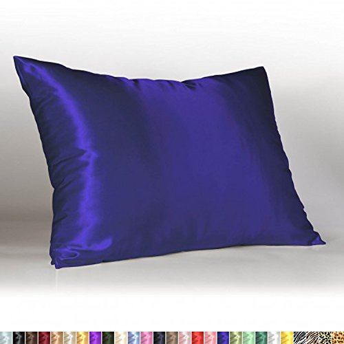 Shop Bedding Luxury Satin Pillowcase for Hair – Queen Satin Pillowcase with Zipper, Royal (Pillowcase Set of 2) – ()