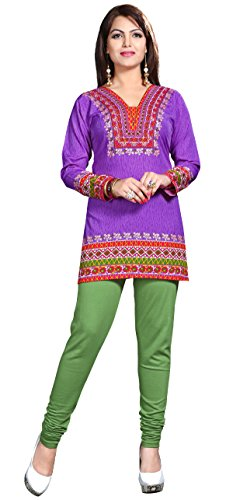 Maple Clothing Womens Printed Kurti Tunic Top Short Blouse Indian Clothes – S…Bust 34 inches, Purple