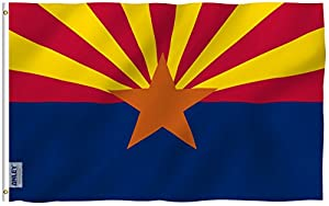 Anley Fly Breeze 3x5 Feet Arizona State Polyester Flag - Vivid Color and UV Fade Resistant - Canvas Header and Double Stitched - Arizona AZ State Flags with Brass Grommets 3 X 5 Ft