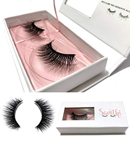 Faux Mink Lashes by Samthi Beauty - Style London - Handmade Dramatic Vegan Premium 3D Faux Mink Lashes - Cruelty Free Mink Eyelashes Pair - Reusable Up to 25 Wears (Best False Lashes For Prom)