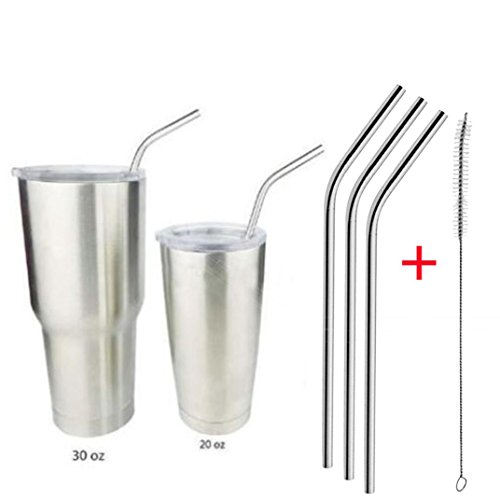 Price comparison product image Botrong 4 Pcs Stainless Steel Metal Drinking Straw Reusable Straws + 1 Cleaner Brush Kit