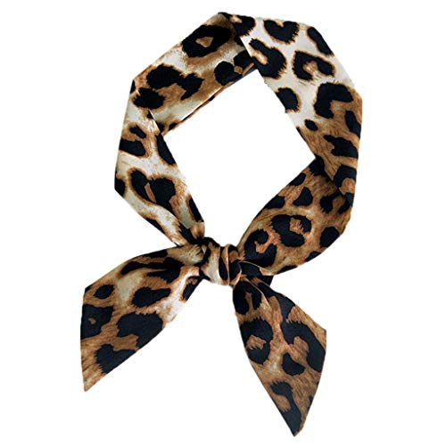 Yearkala 5x90cm Womens Leopard Print Little Scarf Handle Bag Ribbons Neck Tie Retro Shawl