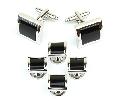 Square Silver Tone and Black Men's Tuxedo Cufflinks and Dress Shirt Studs Set - Classic Formal Attire