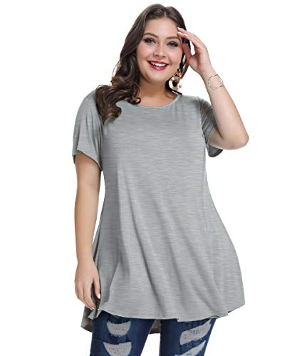 MONNURO Womens Short Sleeve Casual Loose Fit Flare Swing Tunic Tops Basic T-Shirt Plus Size(Heather Gray,5X)